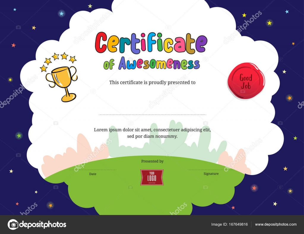 Kids Diploma Or Certificate Of Awesomeness Template With Cartoon