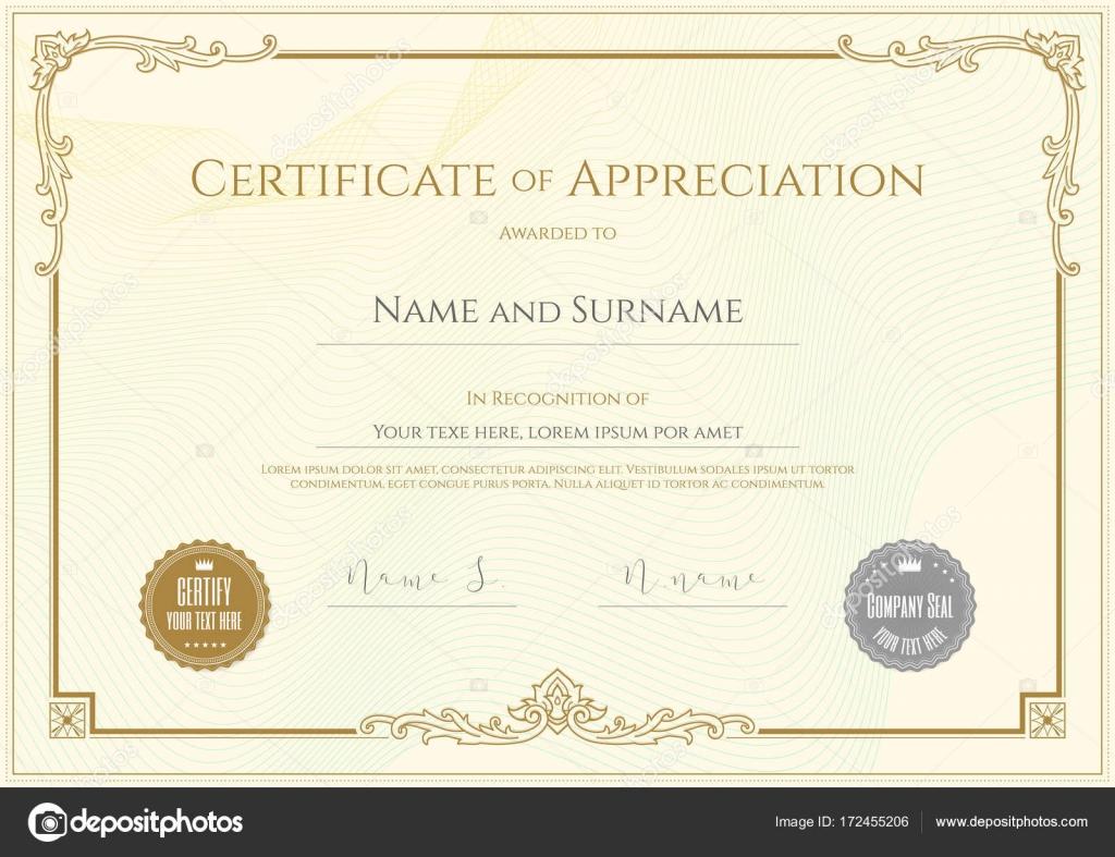 Plantilla de certificado de lujo con elegante borde marco, diseño ...