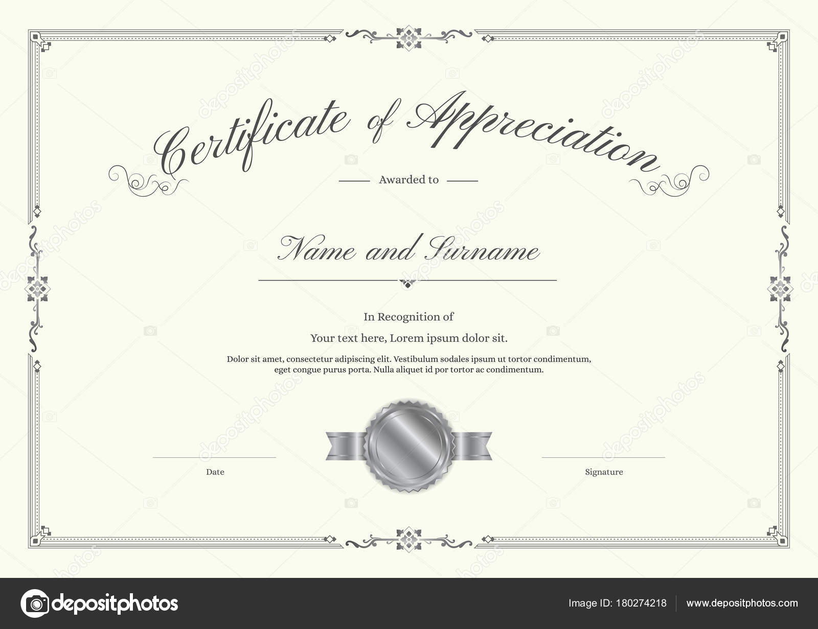 Luxury certificate template with elegant border frame diploma luxury certificate template with elegant border frame diploma design for graduation or completion stock yadclub Choice Image