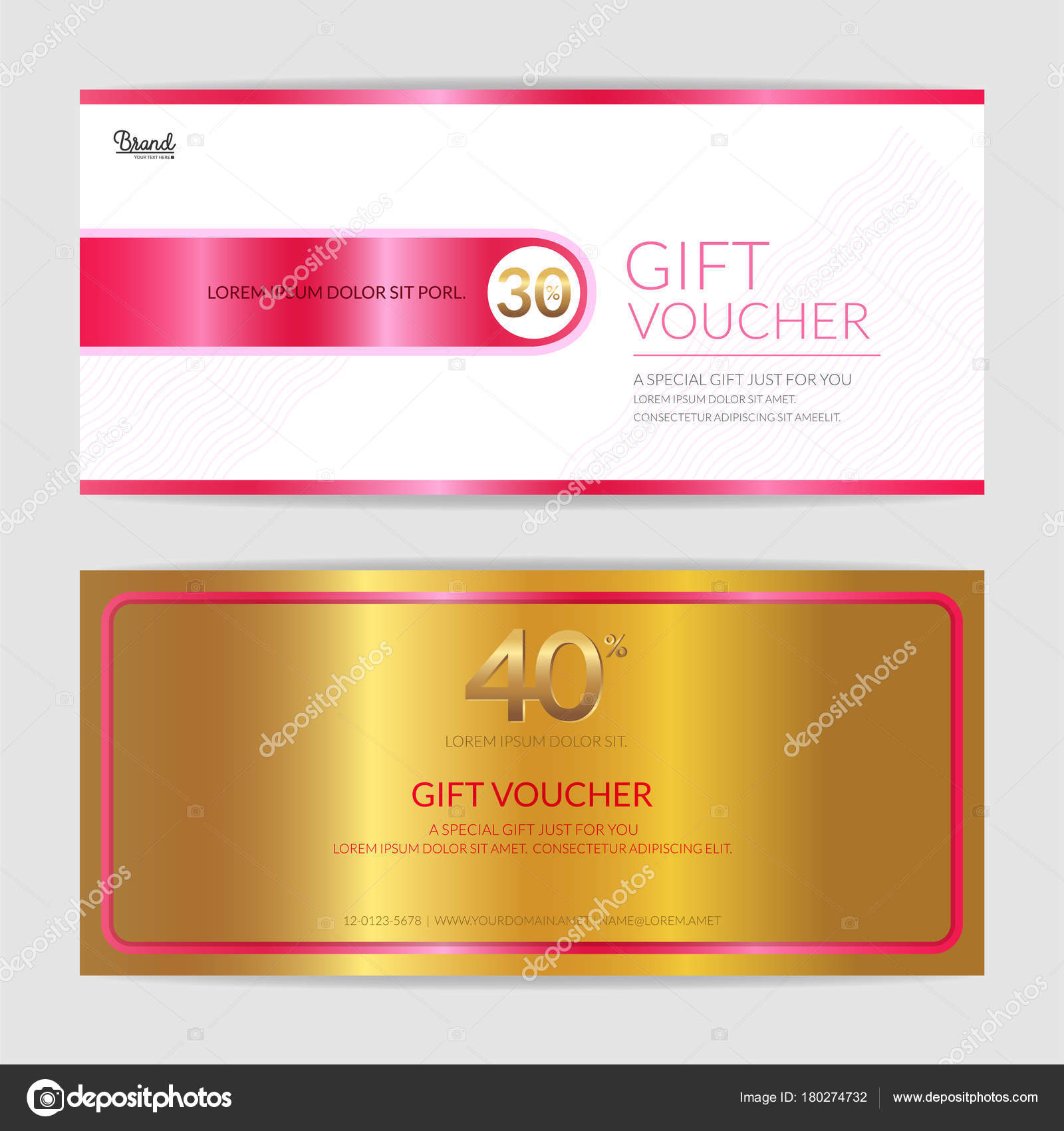 Gift certificate, voucher, gift card or cash coupon template in love ...