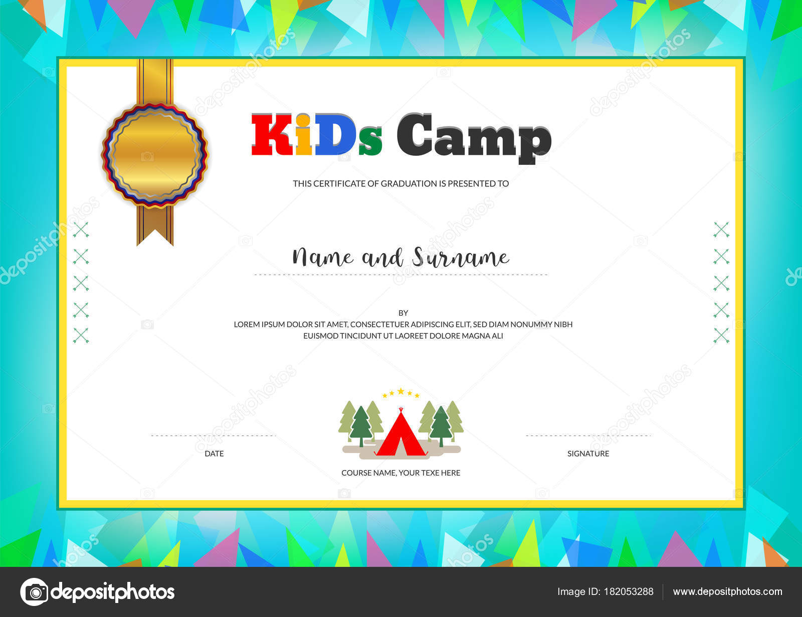 Kids Summer Camp Diploma or certificate template with colorful ...