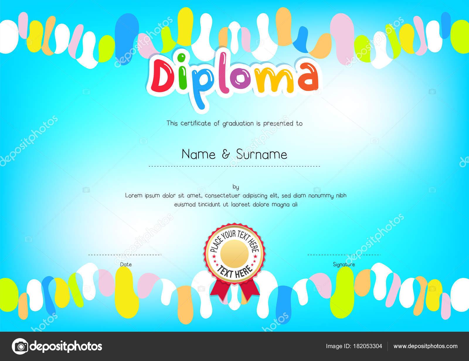 Kinder-Diplom oder Zertifikat-Vorlage mit bunten Rahmen und blauen ...