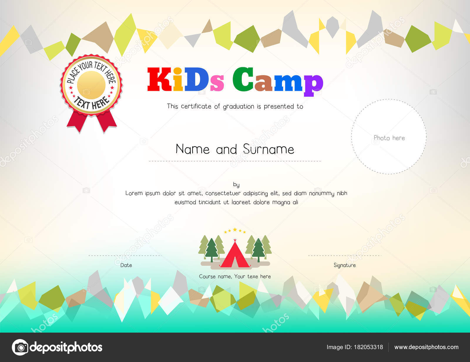 Kids summer camp diploma or certificate template award ribbon and kids summer camp diploma or certificate template award ribbon and photo affix space stock vector yelopaper Image collections
