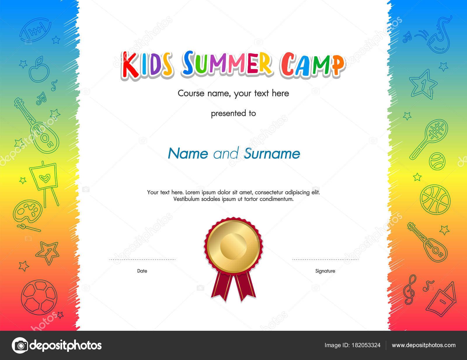 Kinder Sommer Camp Diplom oder Zertifikat Vorlage Award Siegel mit ...
