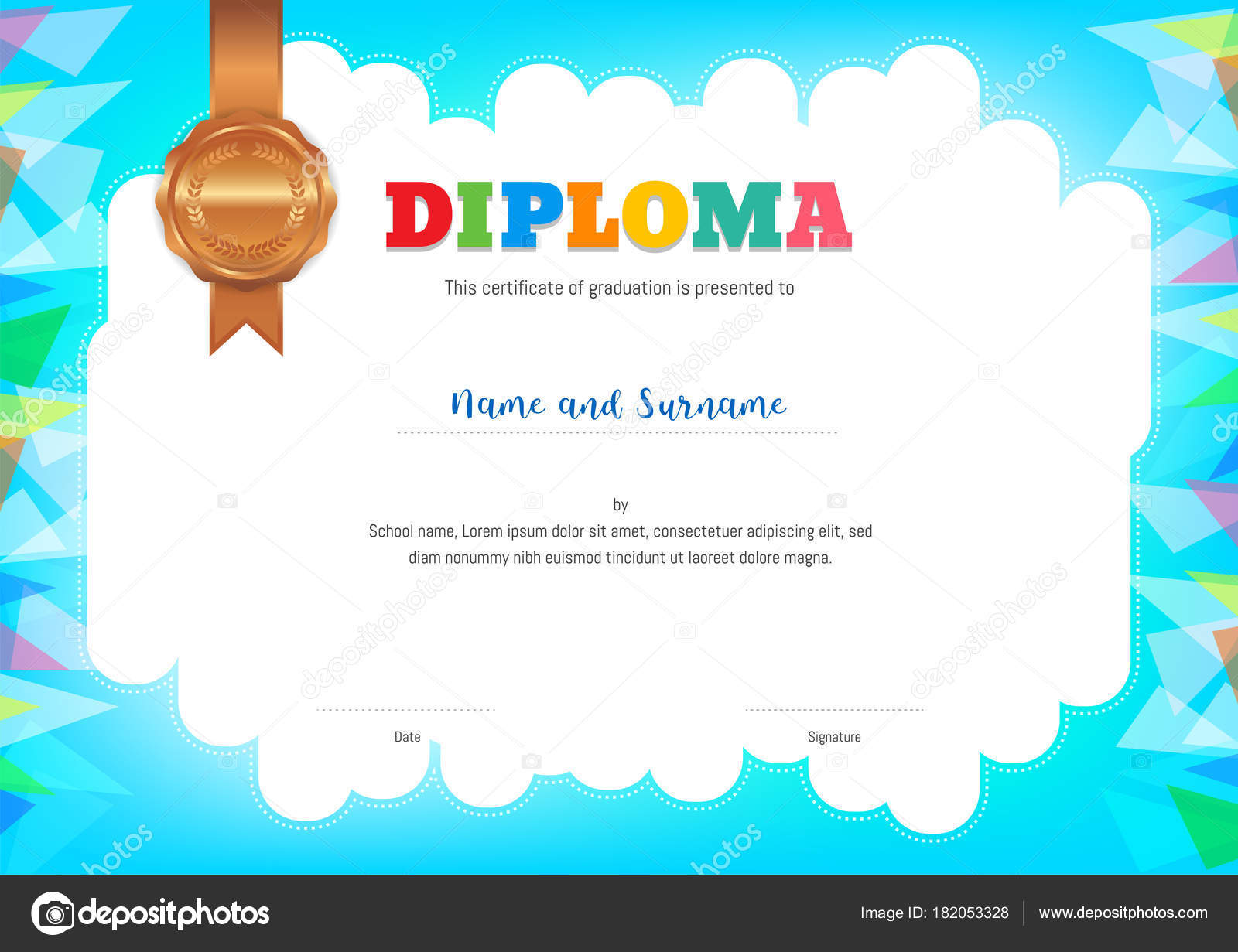 Kinder-Diplom oder Zertifikat-Vorlage mit farbigen Hintergrund ...
