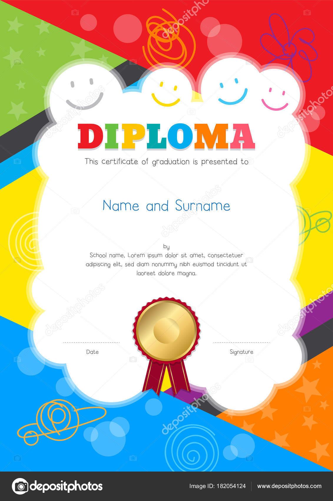 Kinder-Diplom oder Zertifikat-Vorlage mit bunten und Handzeichnung ...