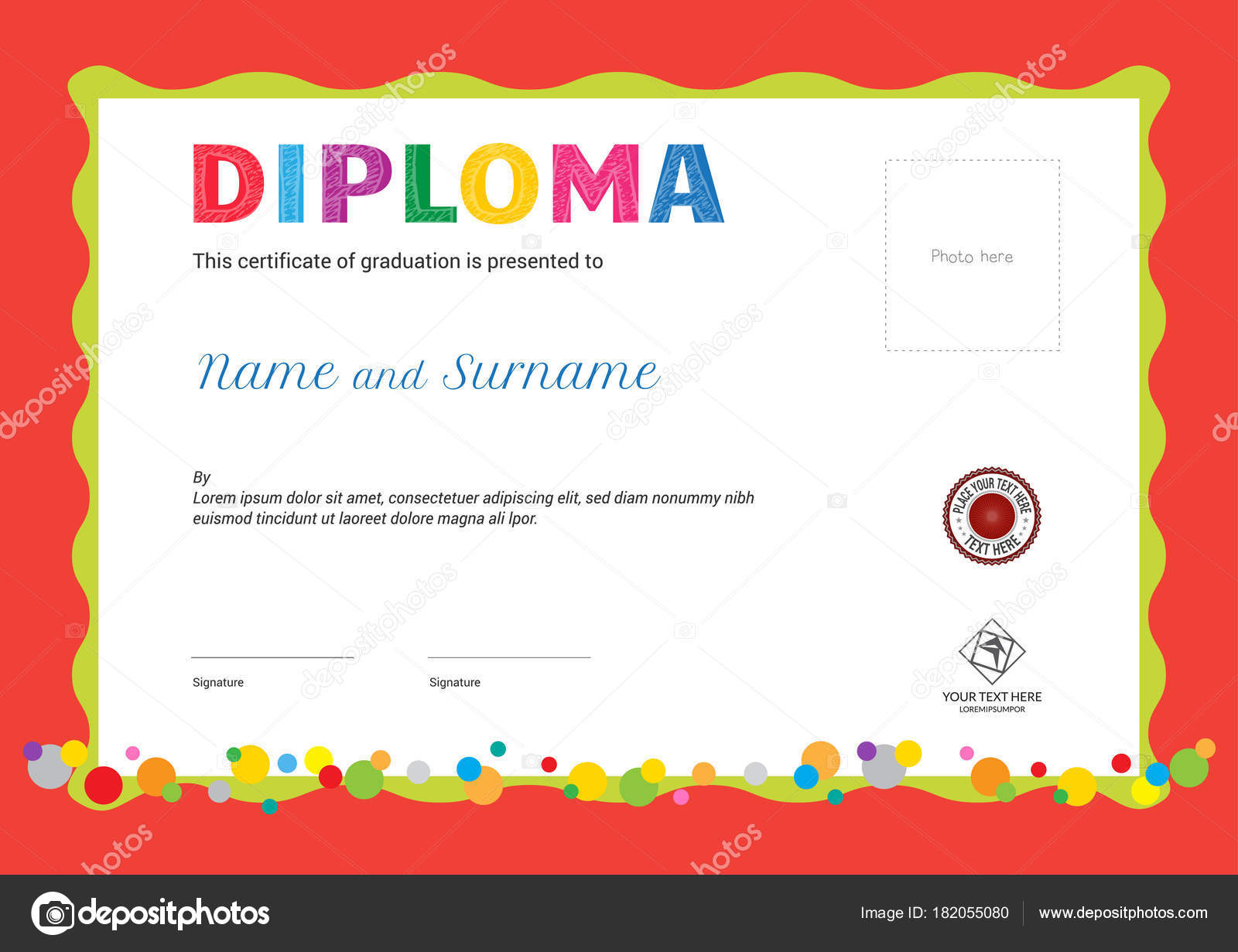 Kids summer camp diploma or certificate template with photo and kids summer camp diploma or certificate template with photo and seal space on orange background and yelopaper Image collections