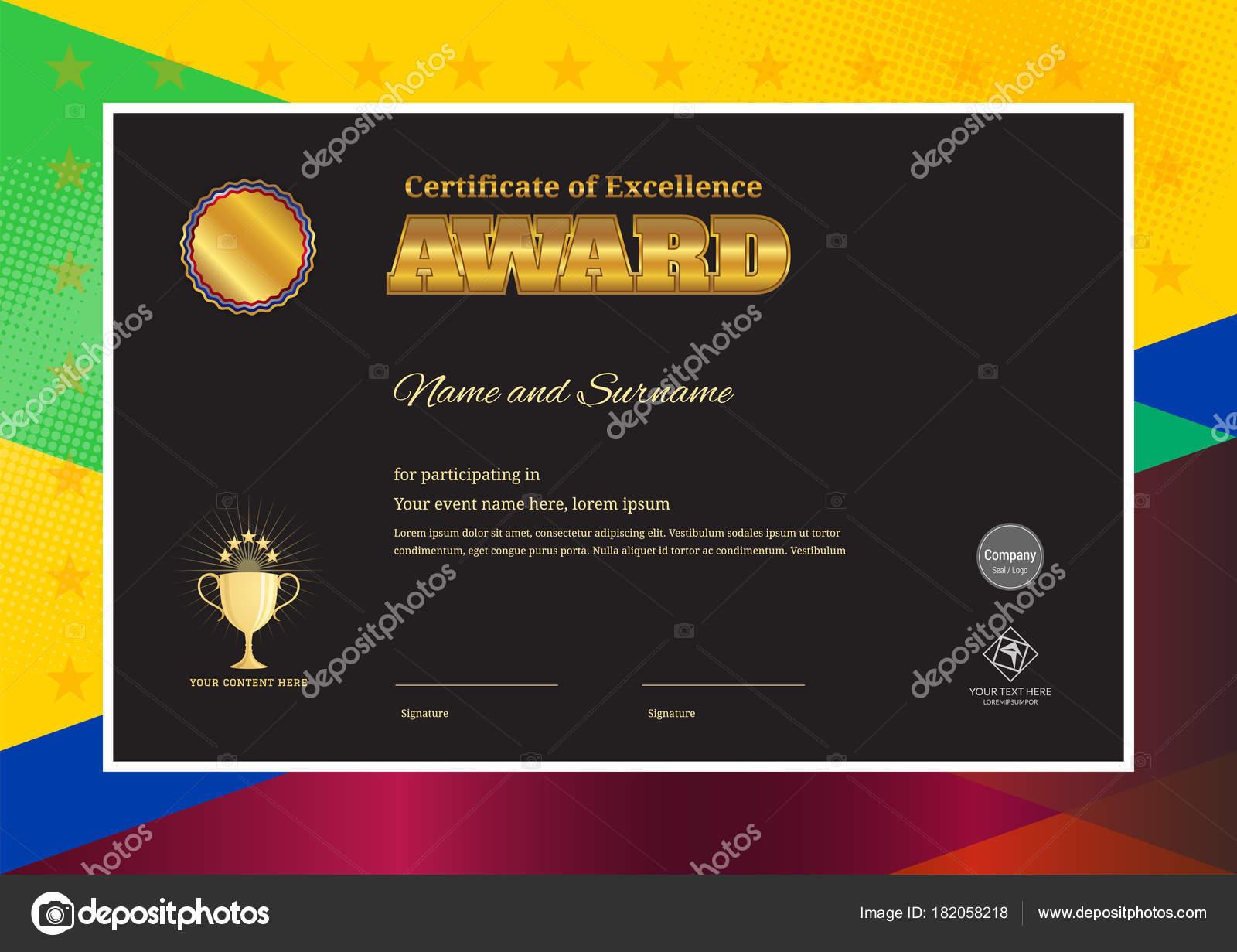 Moderne Award Zertifikatvorlage mit bunten Rahmen für — Stockvektor ...