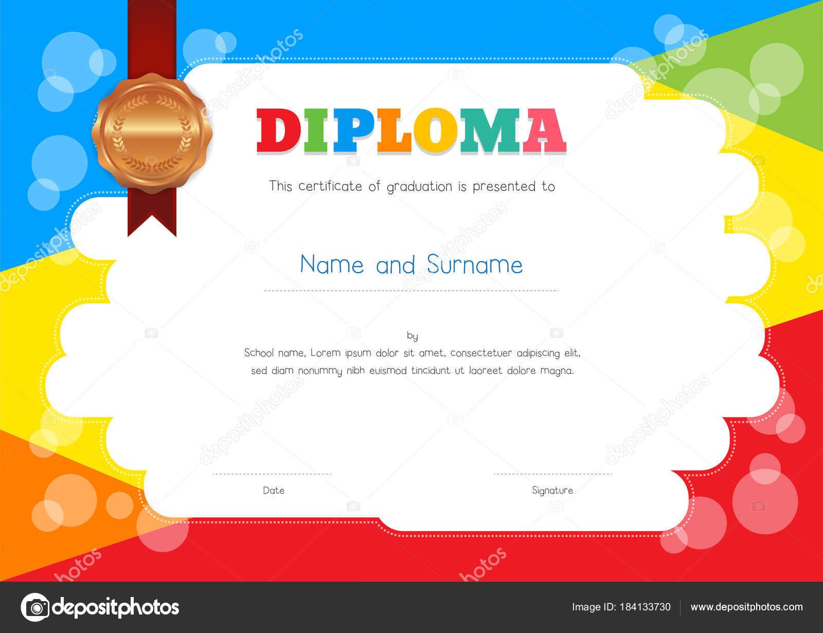 Plantilla de Diploma o certificado de los niños con colores de fondo ...