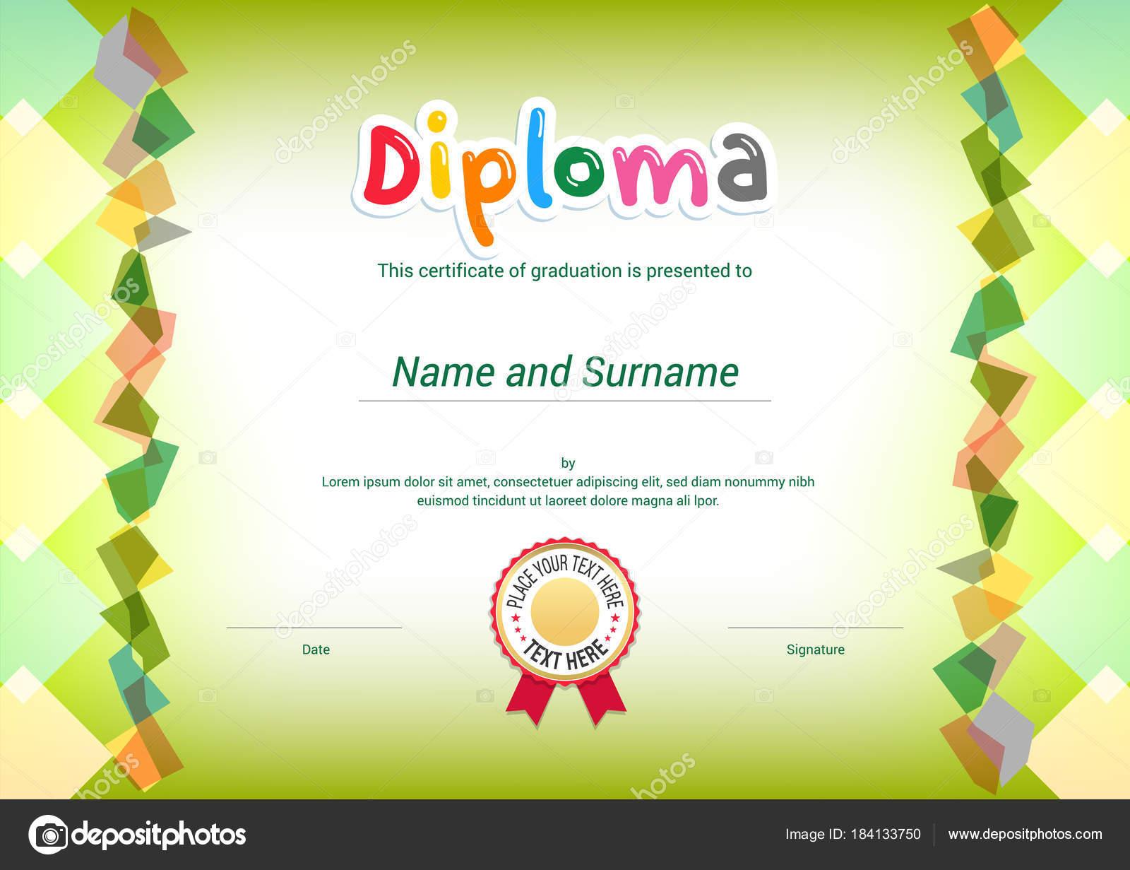 Kinder-Diplom oder Zertifikat-Vorlage mit grünen Themel Hintergrund ...
