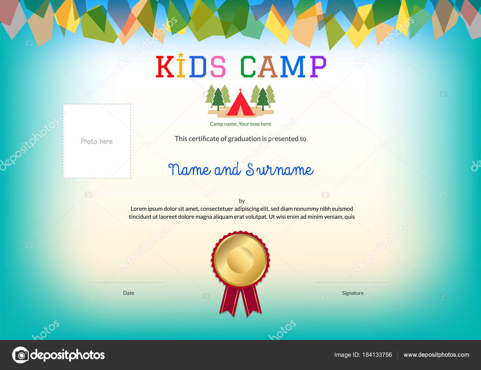 Kids summer camp diploma or certificate template award ribbon and kids summer camp diploma or certificate template award ribbon and photo affix space stock vector yadclub Gallery