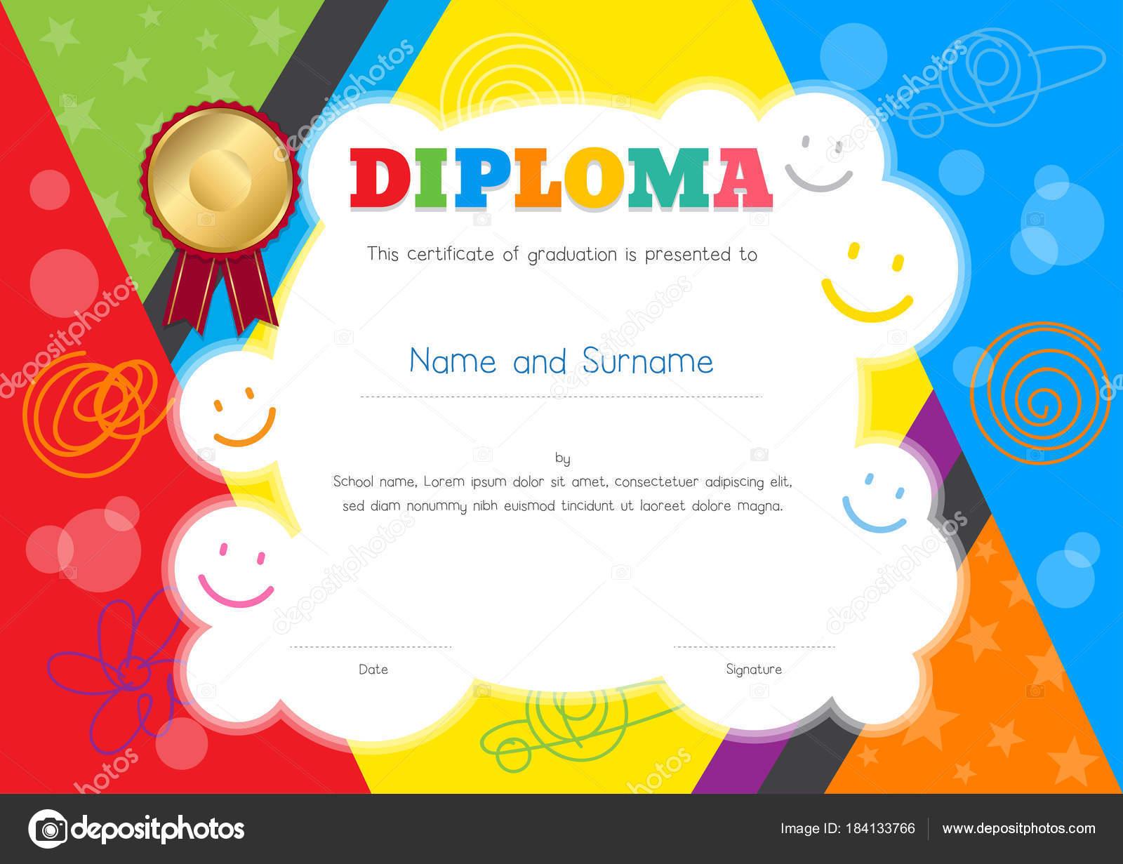 Kinder-Diplom oder Zertifikat-Vorlage mit bunten und Hand zeichnen ...