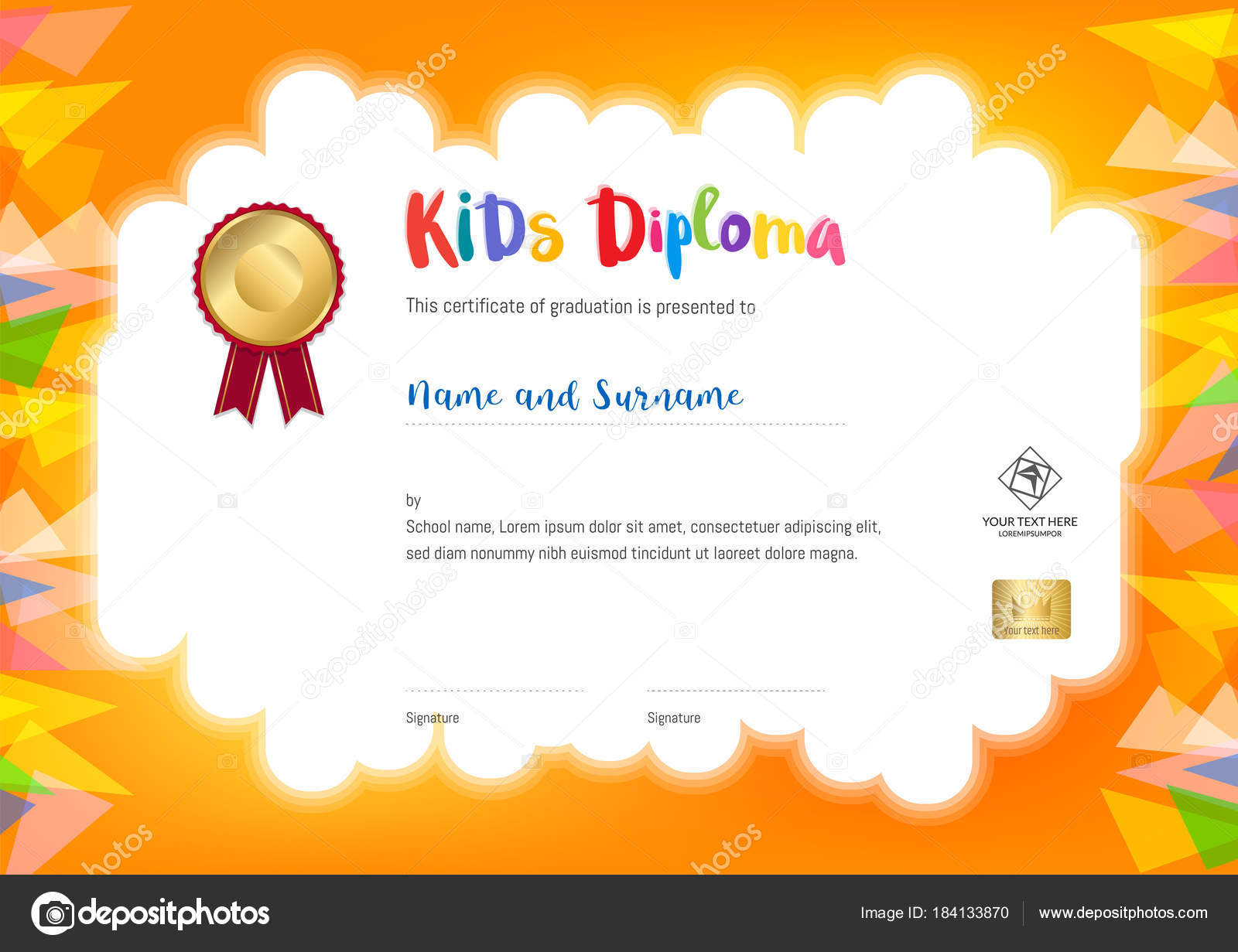 kids summer camp diploma or certificate template with seal space on