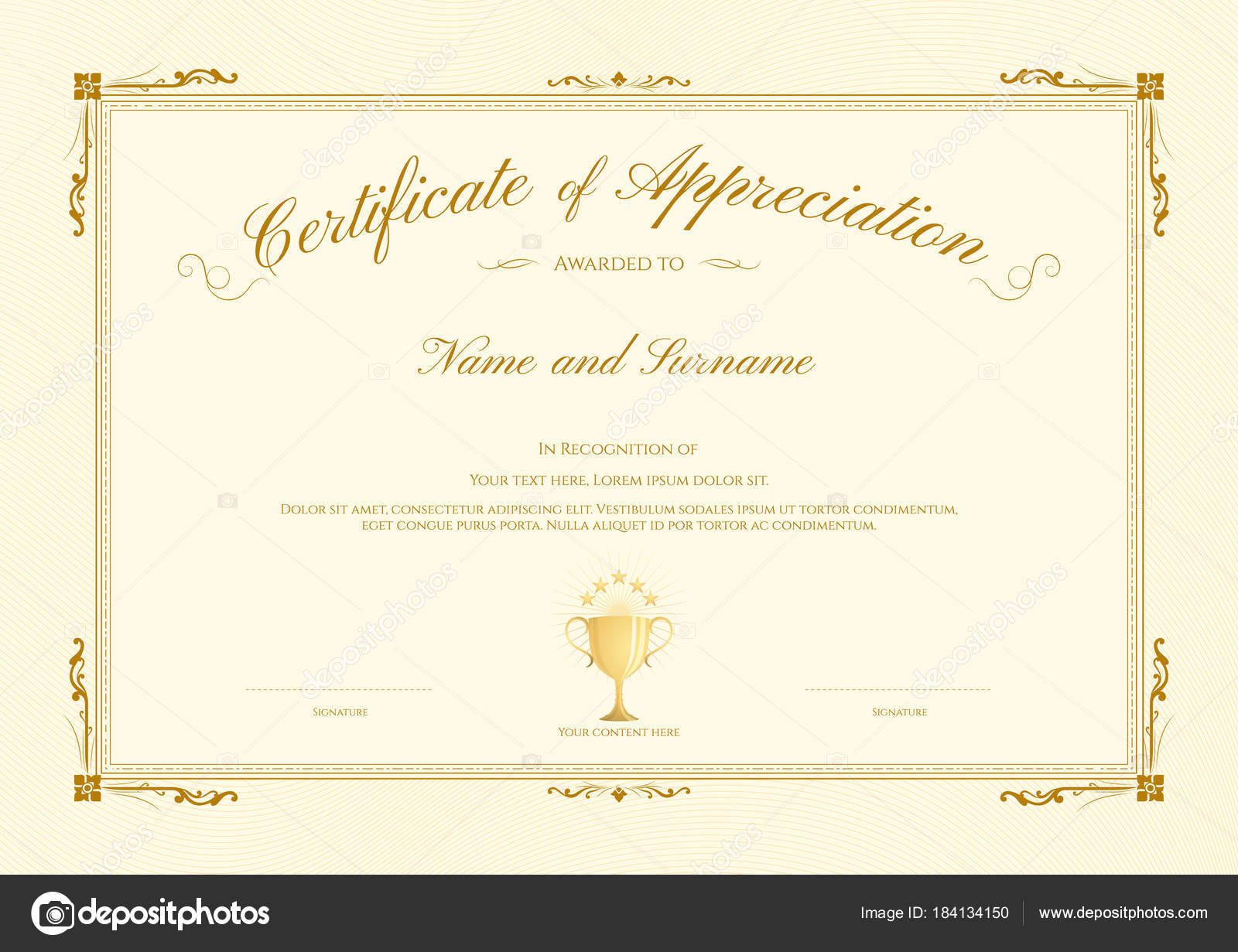Luxury certificate template elegant border frame diploma design luxury certificate template elegant border frame diploma design graduation completion stock vector yadclub Images