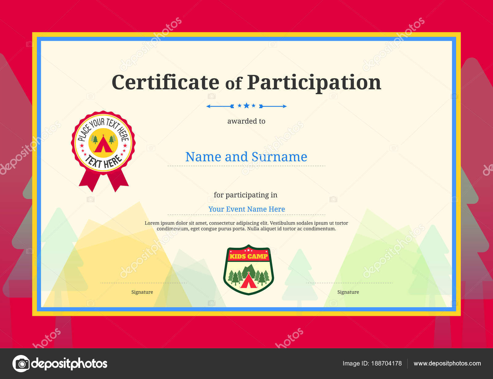 Kinder-Diplom oder Zertifikat Teilnahme Templates mit Farbe ...