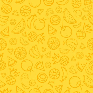 Sketch mixed tropical fruits seamless summer pattern background vector format