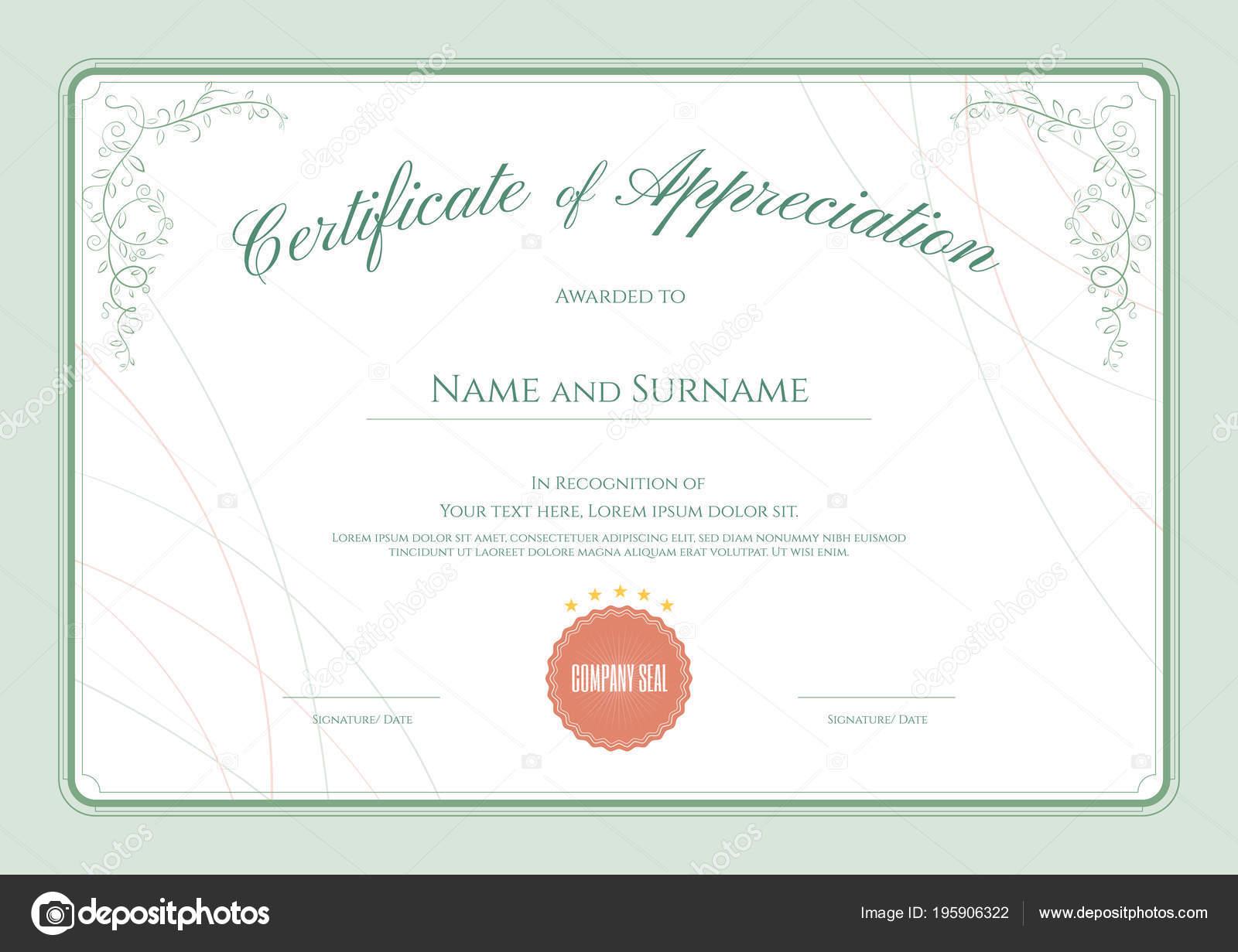 Luxus Zertifikat Vorlage Mit Eleganten Floralen Rahmen Diplom Design ...
