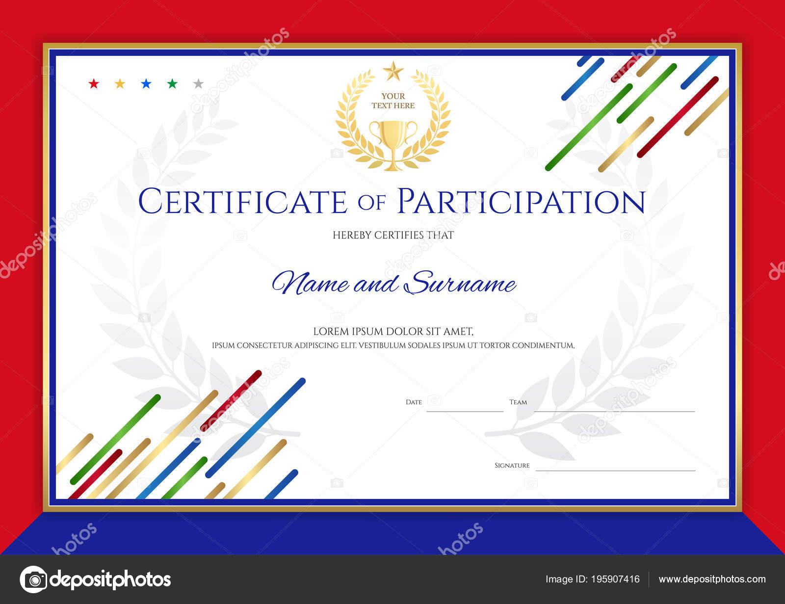 Zertifikat Vorlage Sport Thema Mit Sport Farbe Streifen Design ...
