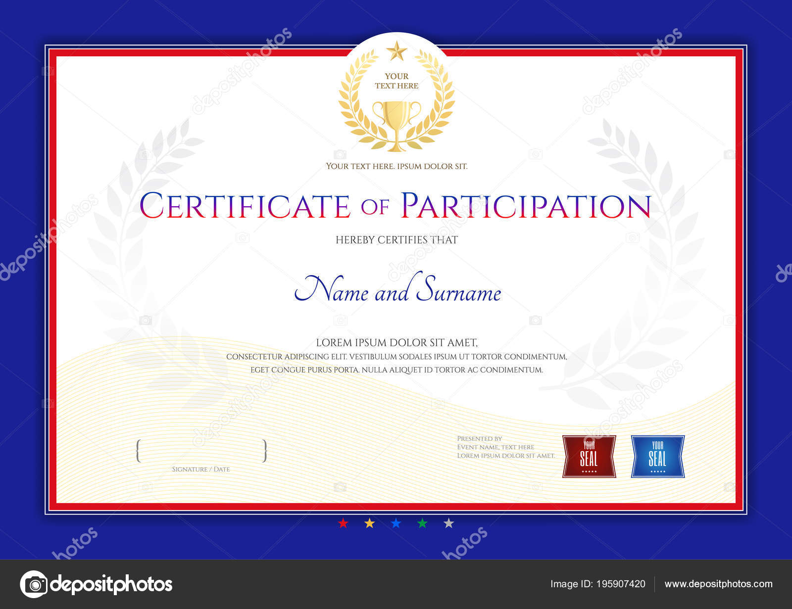 certificate template sport theme border frame diploma design stock