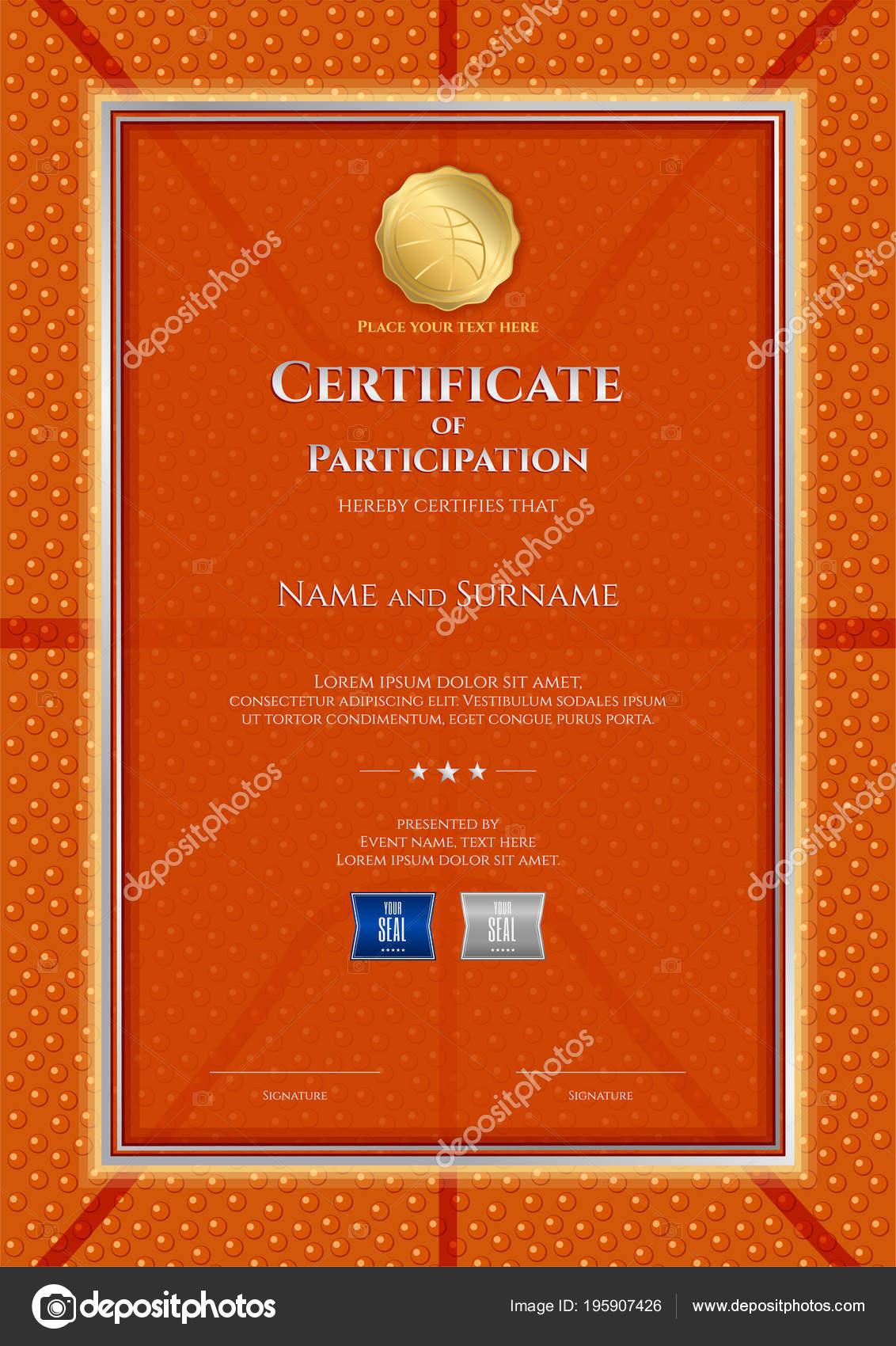 Portrait certificate template basketball sport theme ball.