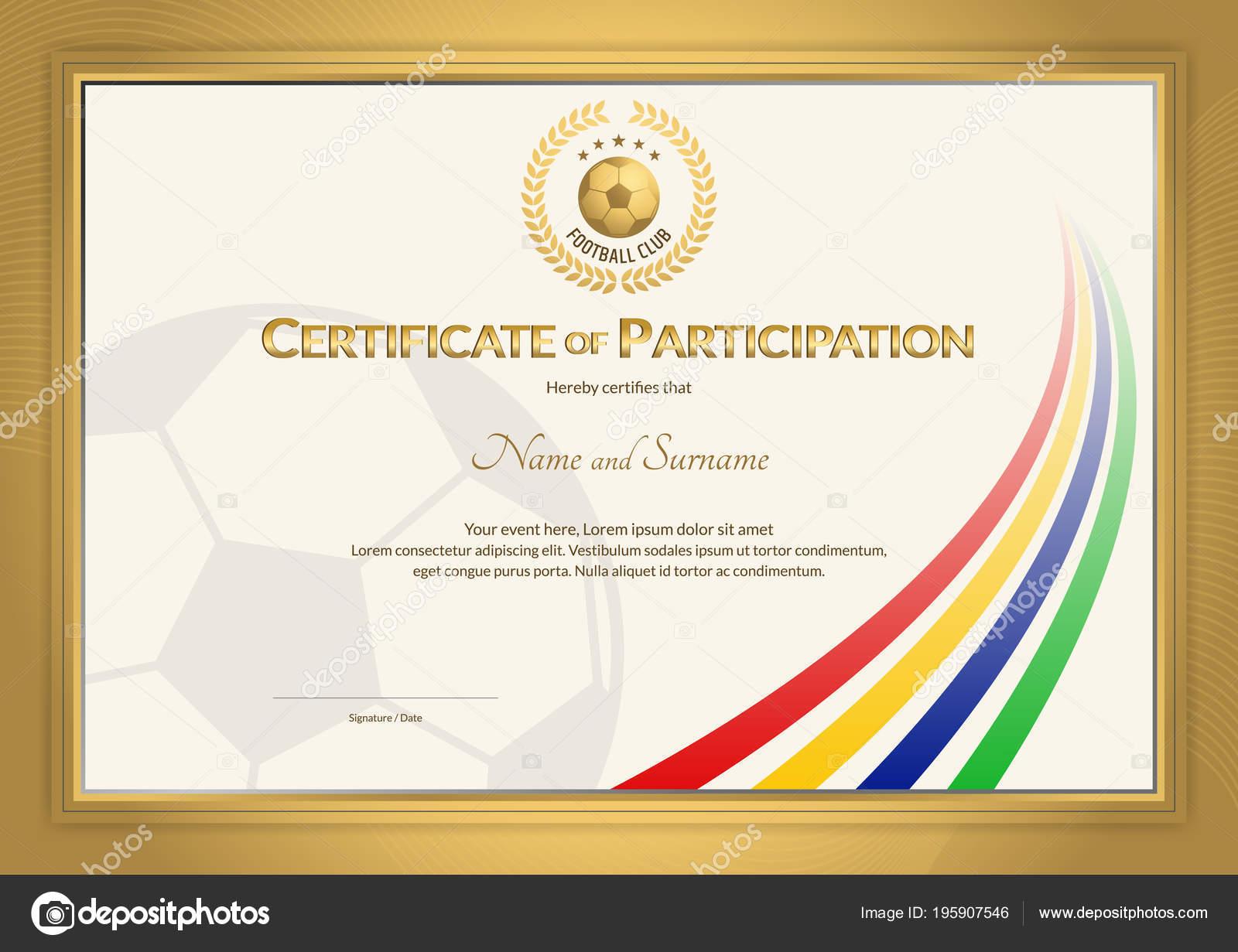 Zertifikat Vorlage Fußball Sport Streifen Farbdesign Mit Goldenen ...