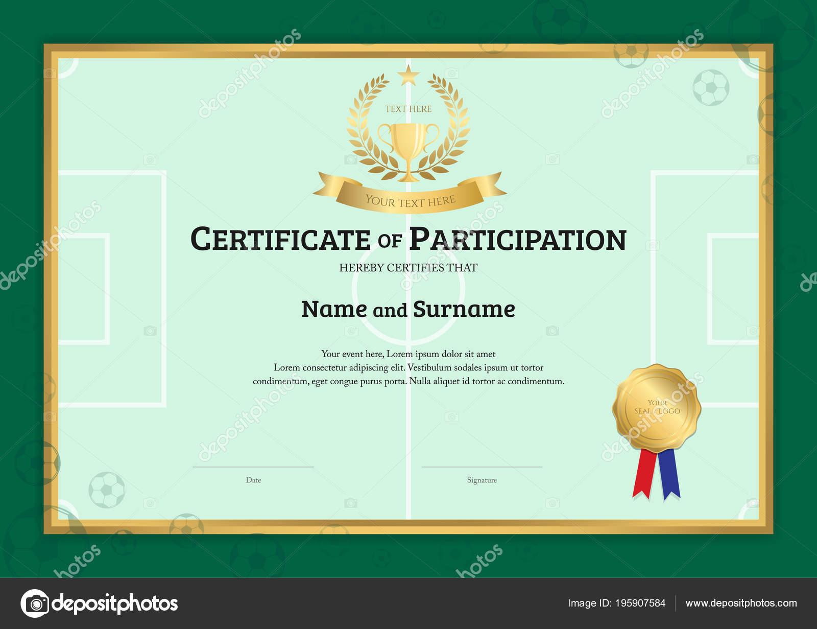 Zertifikat Vorlage Fußball Sport Thema Mit Grünen Wiese Rahmen ...