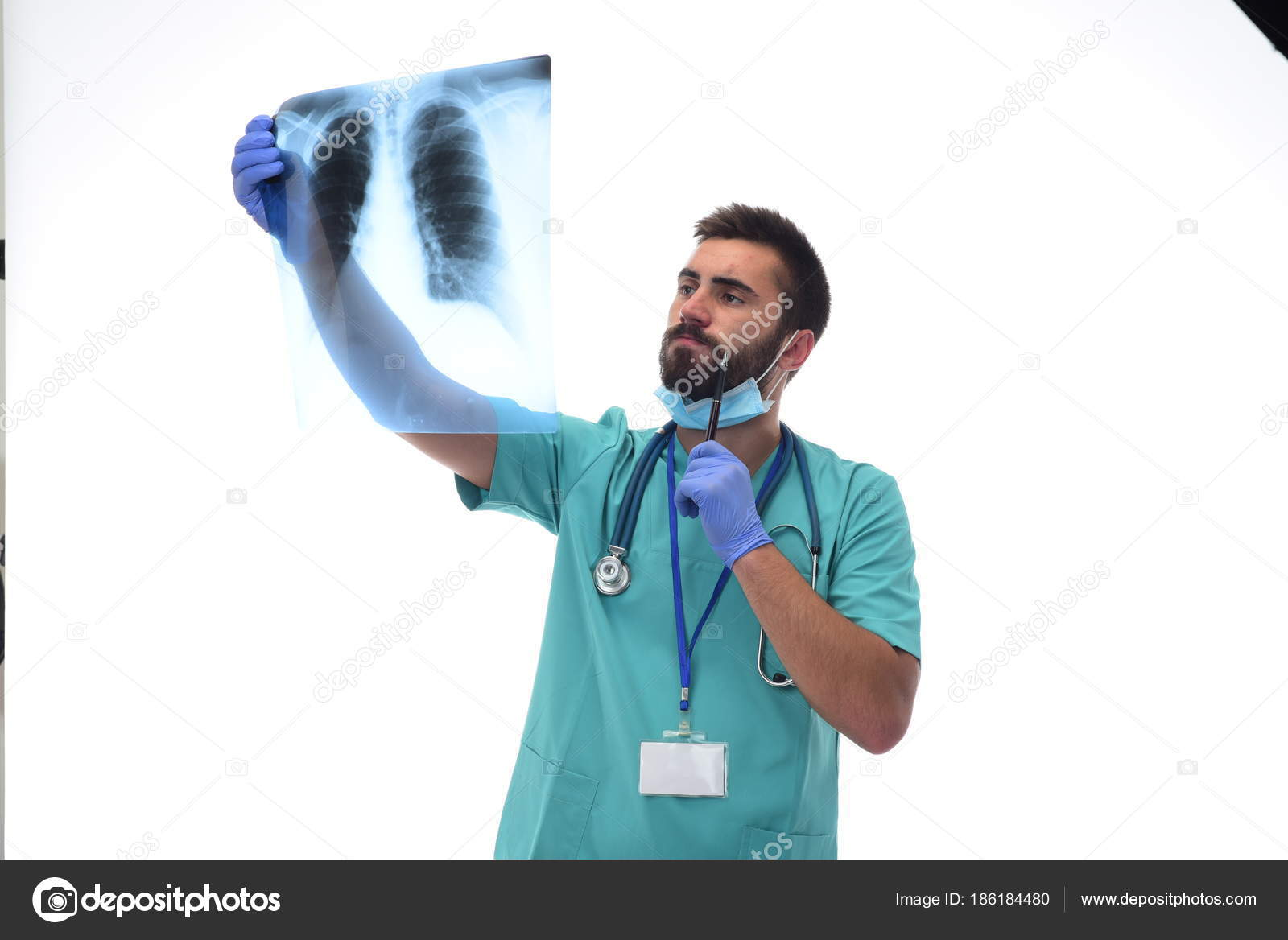 Radiologist Checking Ray Lungs Isolated White Background Stock