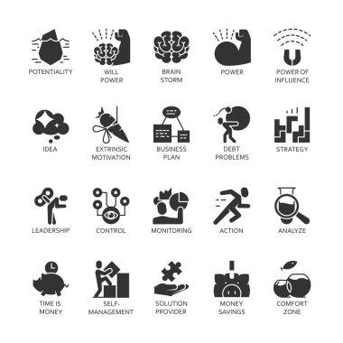 Silhouette symbol black icons set business economic development, financial growth.