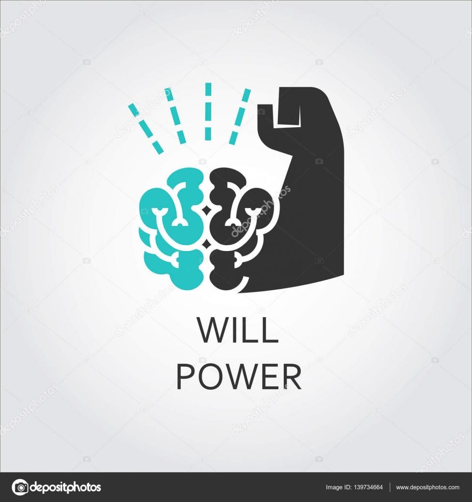 Symbol Von Gehirn Und Muskeln Hand Willenskraft Konzept