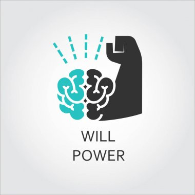 Icon of brain and muscle hand. Willpower concept