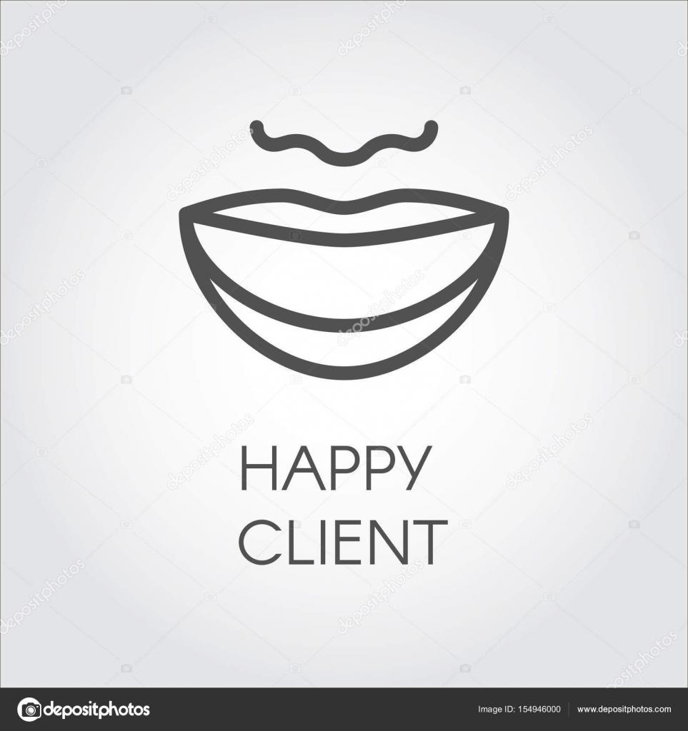 Ícone do conceito de cliente feliz. Sorriso largo e formato do rosto  desenhado no estilo do contorno. Logotipo simples ou botão para aplicativos  móveis, ... 4a97766c87