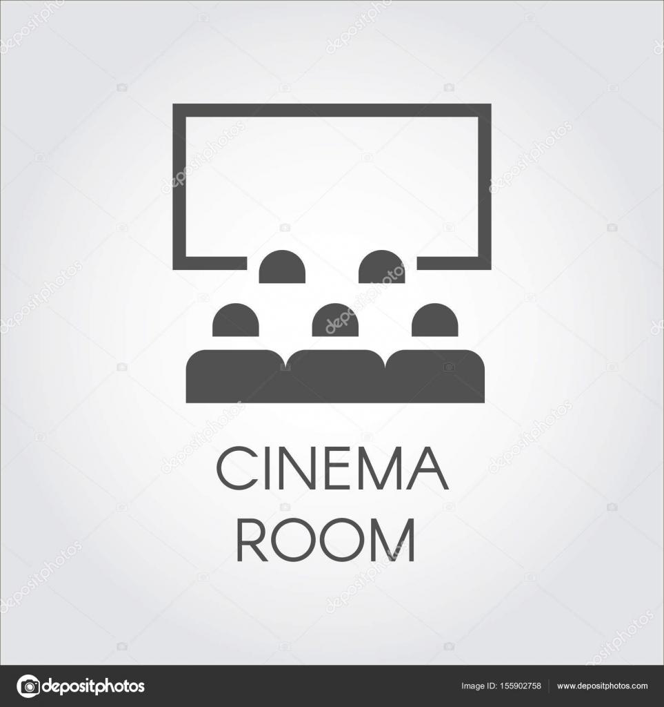 Icône Simple Noire De Public Au Concept De Salle Cinéma Ou La Vidéo