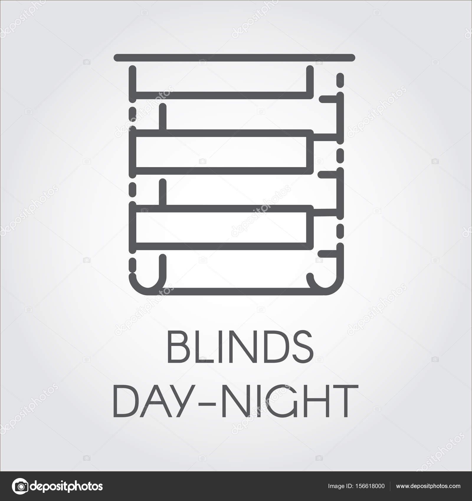 Einfache Linie Jalousien Tag-Nacht-Logo. Piktogramm für Heim und ...