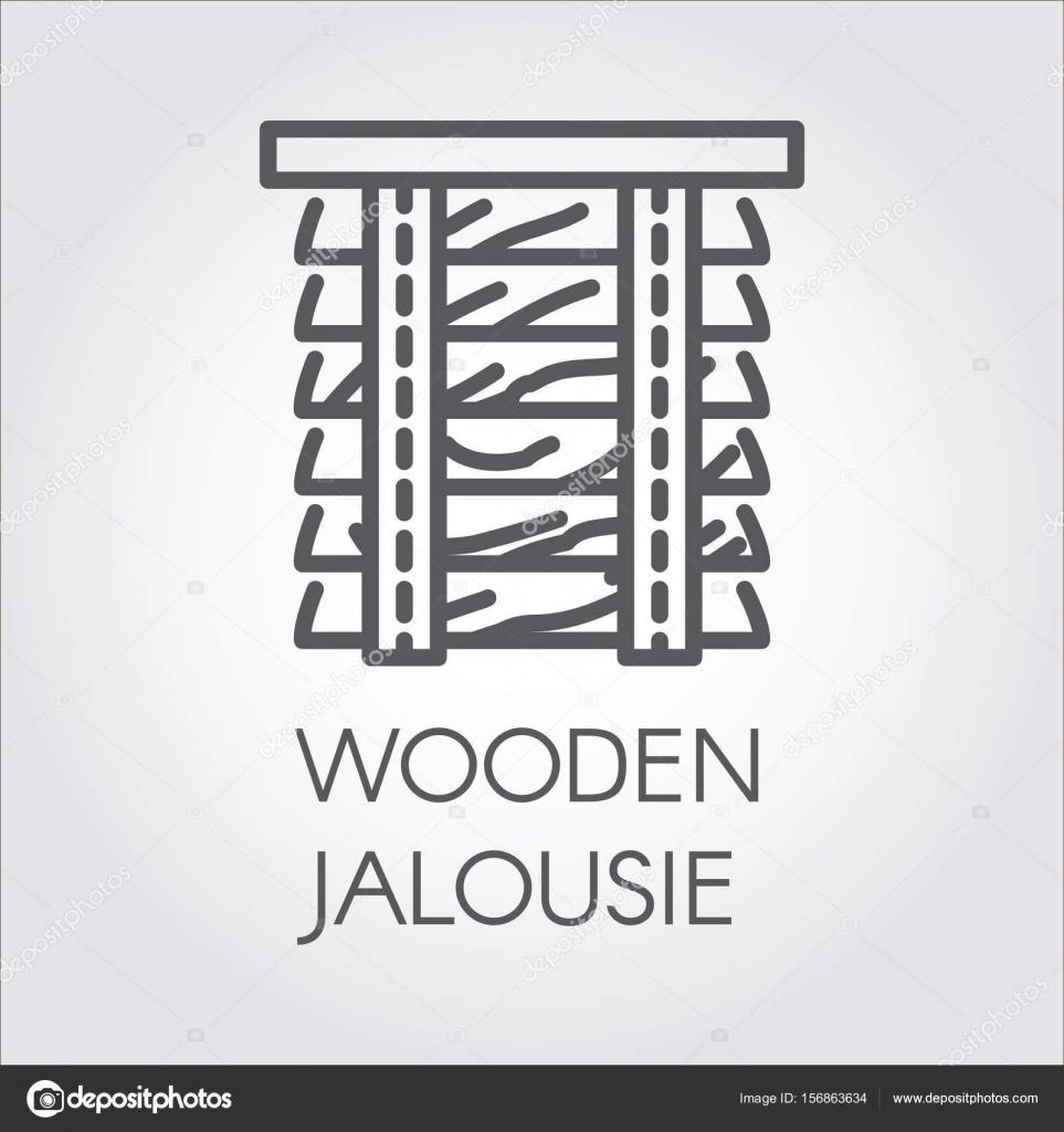 Einfache Linie Logo des hölzernen Jalousie. Bezeichnung für Heim und ...
