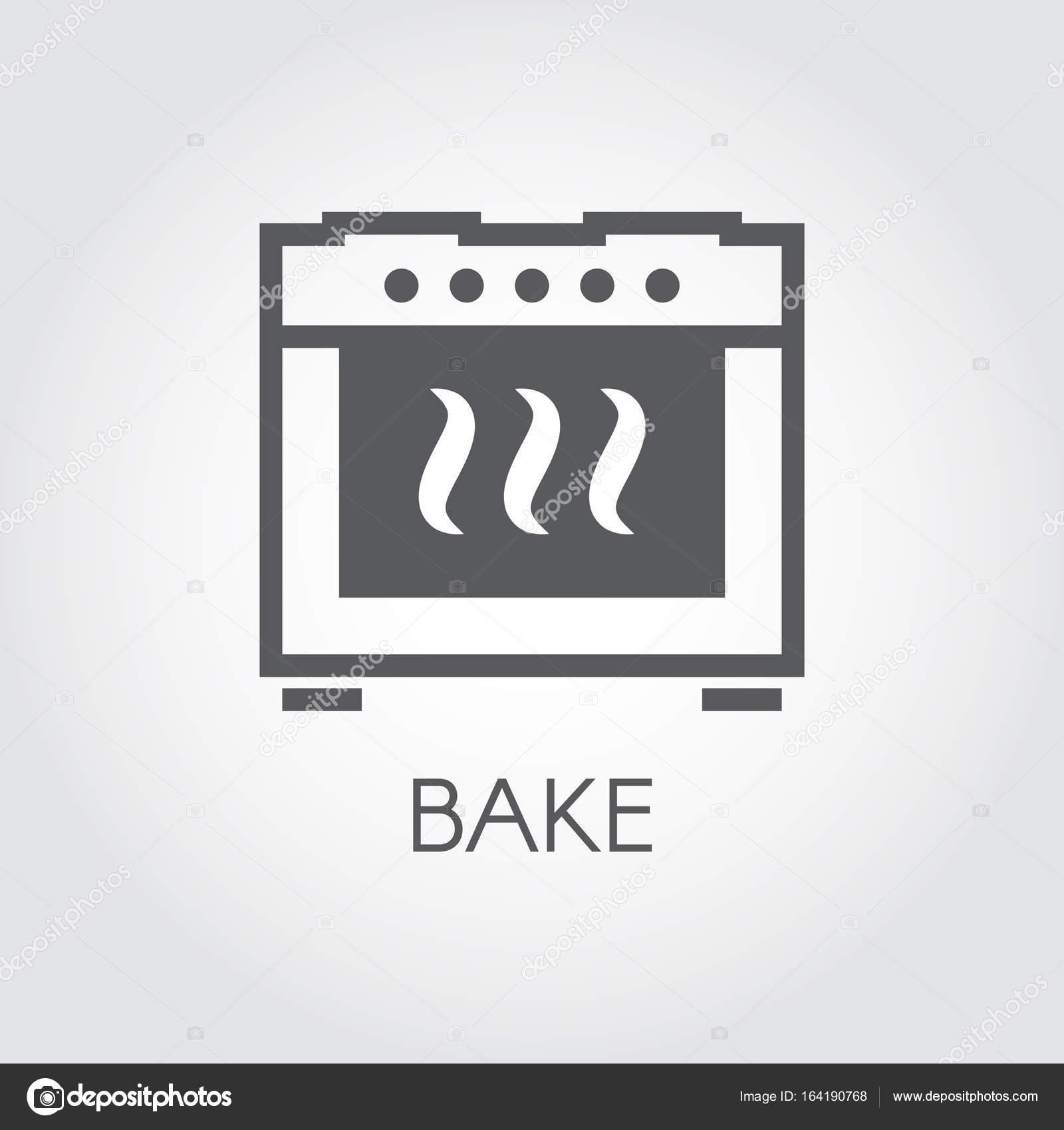 Ofen backen Symbol Zeichnung in flachen Stil für verschiedene Kochen ...