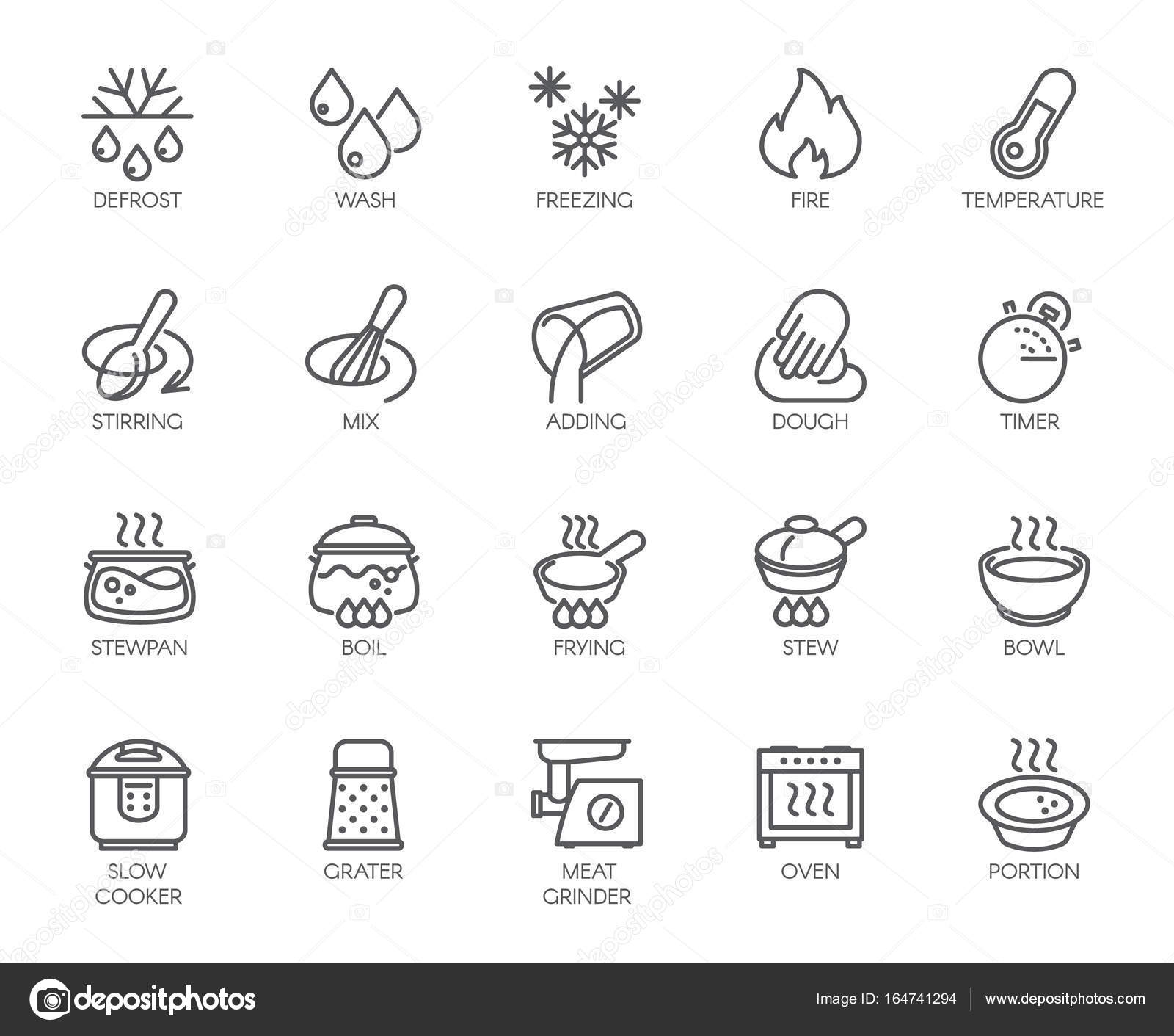 20 Line Icons For Cooking Theme Big Vector Set Of Outline Symbols