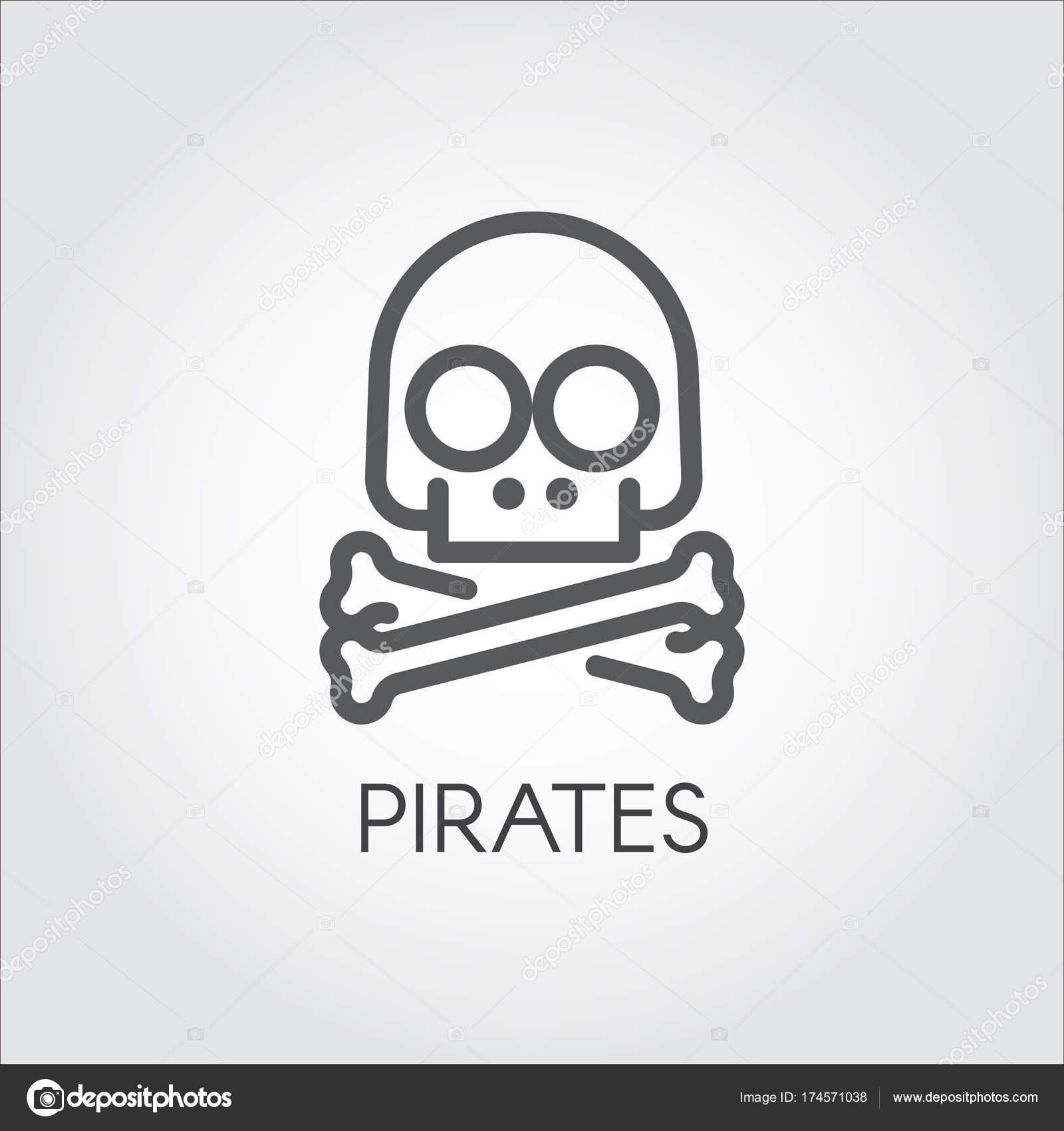 Cráneo con el icono de línea de bandera pirata. Símbolo de la ...
