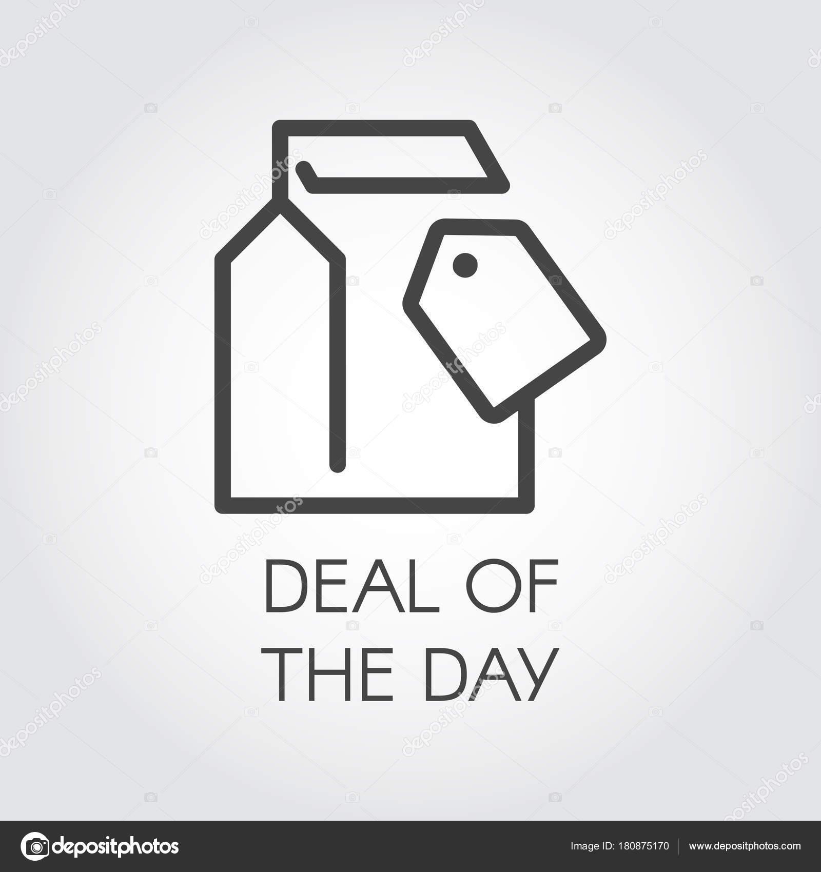 Reparto del icono lineal de día. Etiqueta del paquete y precio ...