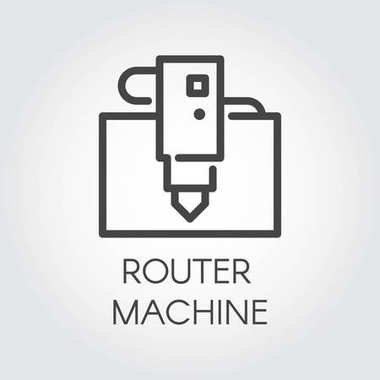 Router machine line icon. Computer-controlled cutting device. Automation and precision system. Graphic contour pictogram. Vector illustration of laser cutting series