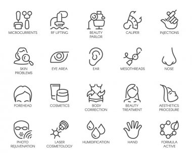 Cosmetology line icons set. 20 outline pictograms isolated. Beauty therapy, bodycare, healthcare, wellness treatment linear symbols. Correction, rejuvenation, anti-aging procedure logo. Vector graphic