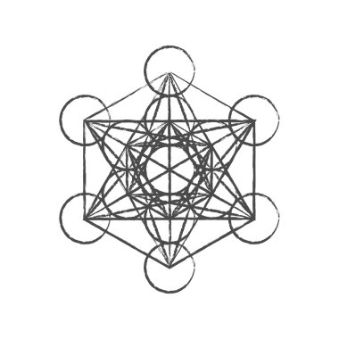 Metatron's Cube. Flower of life. Vector Geometric Symbol isolated. Sacred Geometric Figure named Metatrons Cube. Metatron's Cube isolated holy sacred symbol.