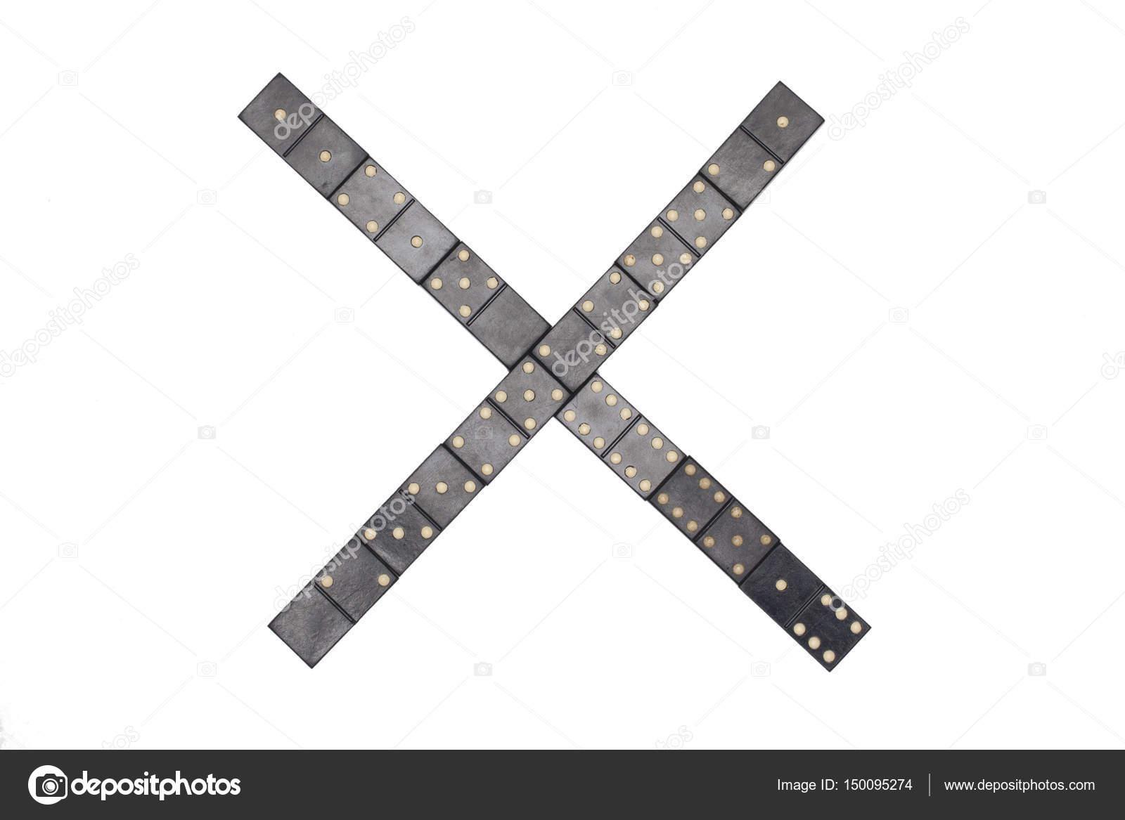 Litera X Wykonane Z Czarnego Domino Płytki Zdjęcie Stockowe