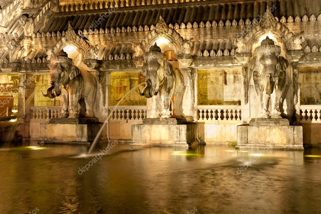 Wall with elephant shape fountains