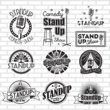 Standup comedy show vector labels design