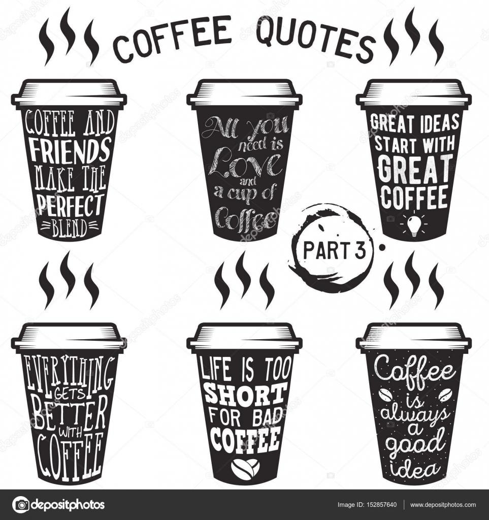 Bemerkenswert Kaffee Sprüche Dekoration Von Vektor Zitate Und Sprüche-typografie-set — Stockvektor