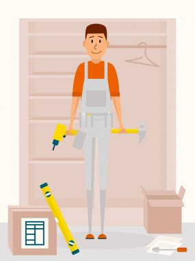 Furniture assembly service man. Vector cartoon character in flat style design. Handyman with drill tool and a hammer in hands. Furniture collector with screwdriver.