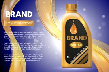 Motor oil product container ad. Vector 3d illustration. Car engine oil bottle template design
