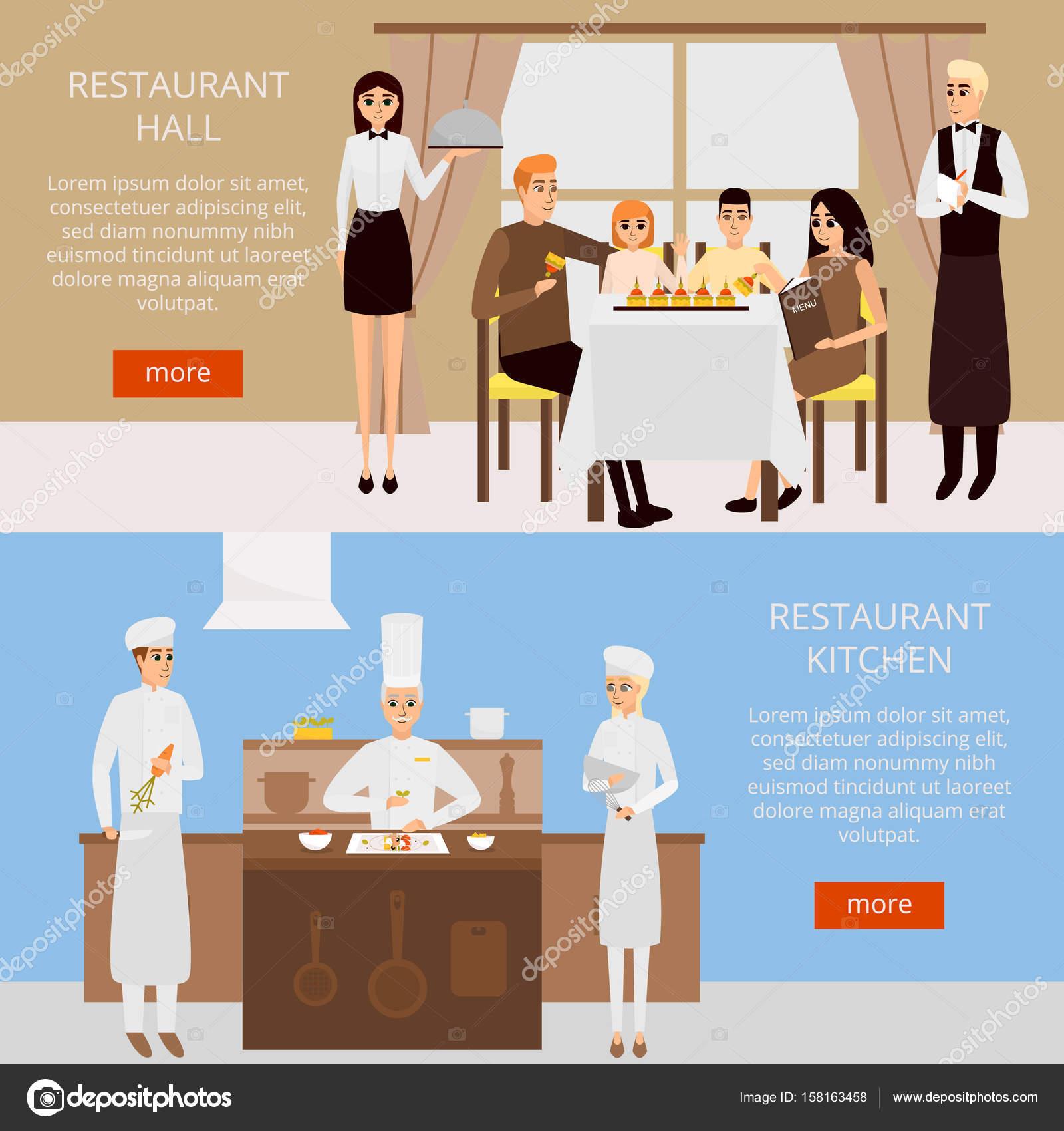 Restauracja Concept Wektor Baneru Internetowego W Projekt