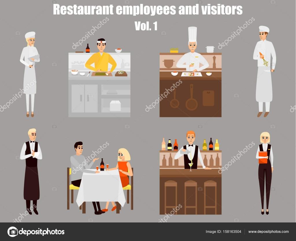 Animado: Personas Que Trabajan En Un Restaurante