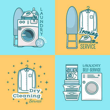 Vector set of laundry labels, logos in modern linear style